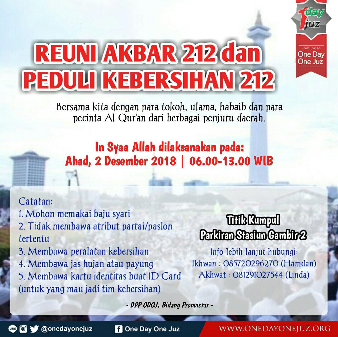 Reuni Akbar 212 Dan Peduli Kebersihan 212 Odoj Jawa Barat