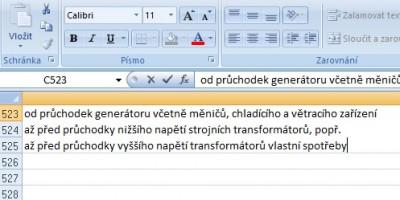Excel řádkování