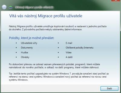 Migrace profilu uživatele