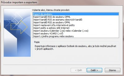 Outlook export krok 2