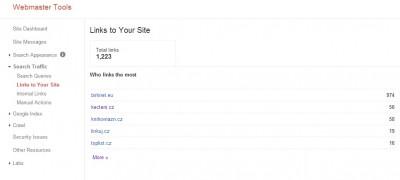 Odkazy z Google Webmaster Tools