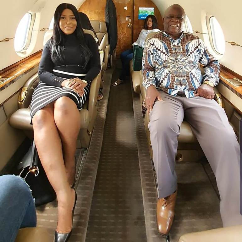 Linda Ikeji and father fly in private jet
