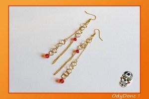 Boucles d'Oreilles Ethnique Géométrique Boucles Pendantes Chaîne Losange Perle de Verre Or et Rouge