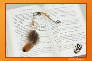 Marque Page Attrape Rêves Dreamcatcher Ethnique Ondes Positives Crème et Orange
