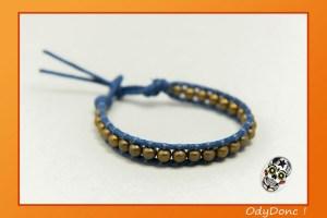 Bracelet Double Wrap Mixte Unisexe Minimaliste Ethnique Perle Métal Bleu Jean et Bronze