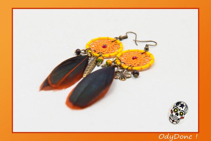 Boucles d'Oreilles Inspiration Automne Pendentif Attrape Rêves Dreamcatcher