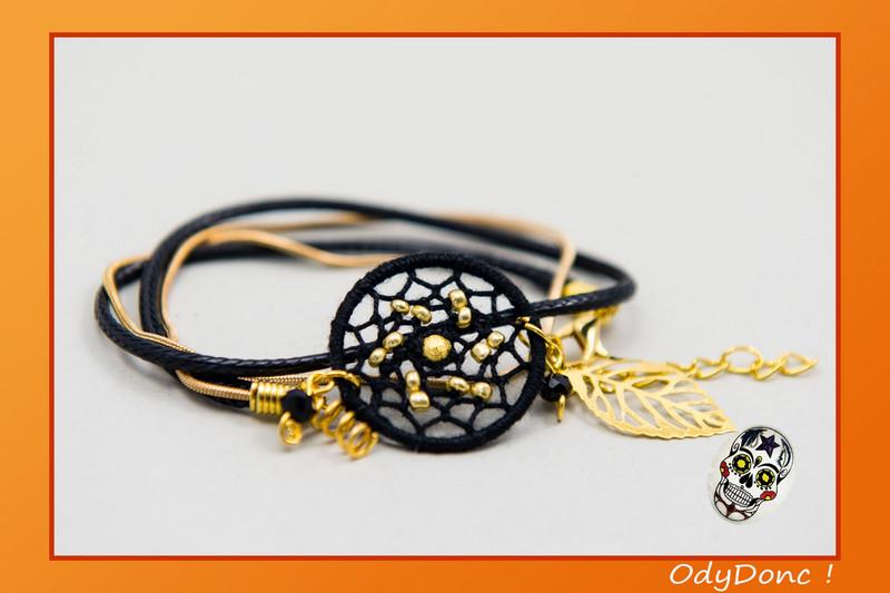 Bracelet Fêtes Dorées Dreamcatcher Pendentif Attrape Rêves Artisanal