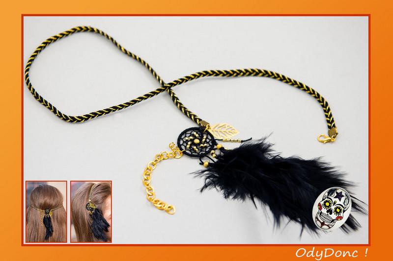 Bijou de Cheveux Fêtes Dorées Tour de Tête Pendentif Attrape Rêves Dreamcatcher Capteur de Rêves