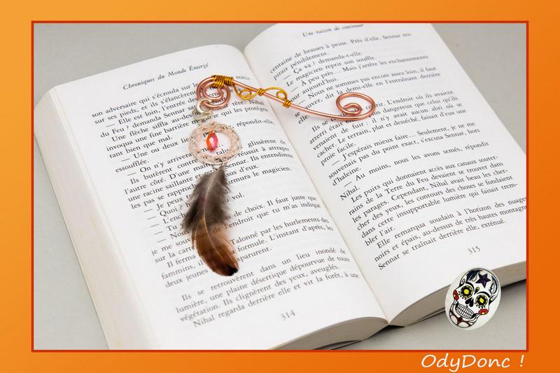 Marque Page Attrape Rêves Dreamcatcher Ethnique Ondes Positives Cuivre Orange et Marron
