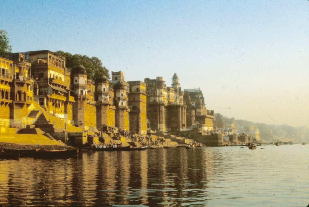 bathing ghats line the shore