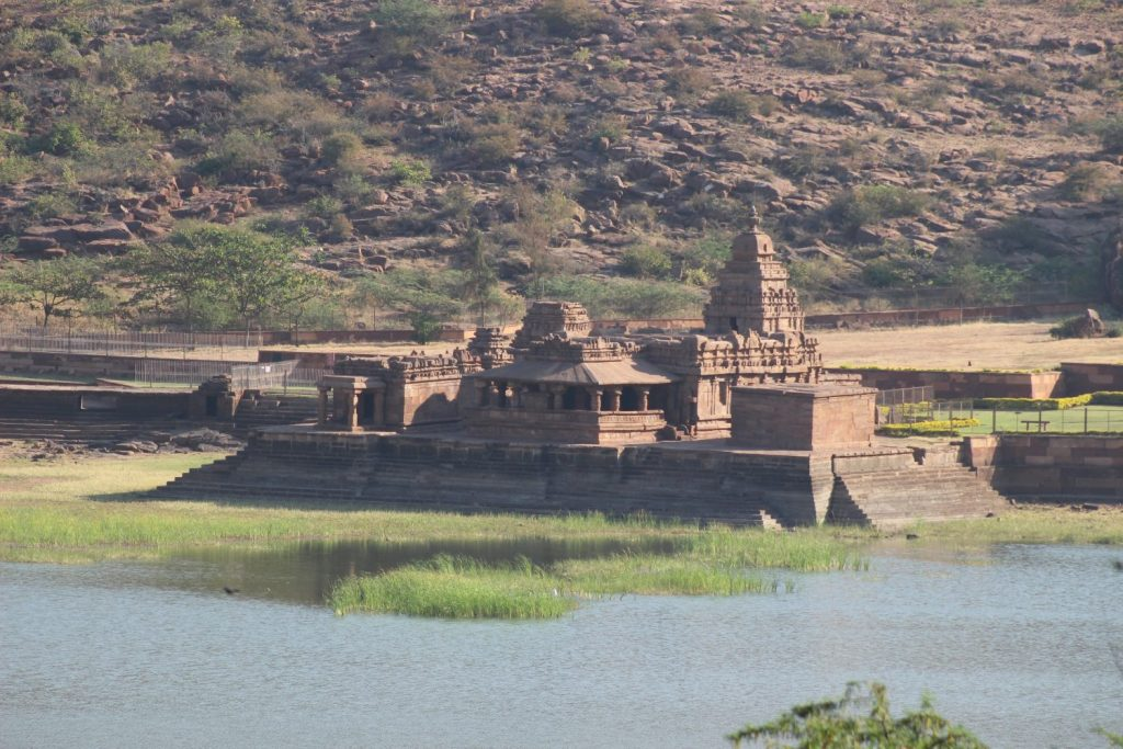 Badami temple on the lake