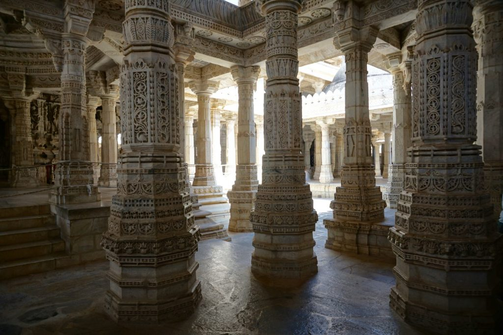a forest of carved pillars