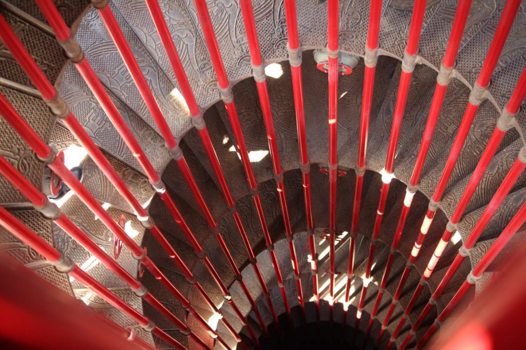 a long climb up spiral stairs