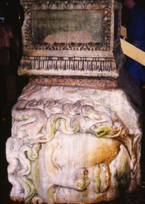 pillaged Roman pillars at the base of a column