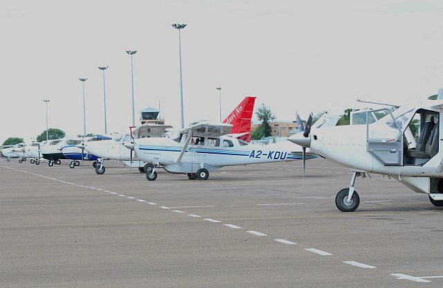 lots of little planes at the Maun airport