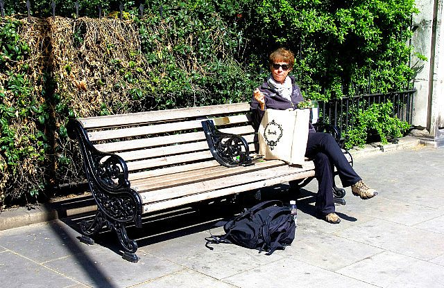 Harrods lunch on a park bench