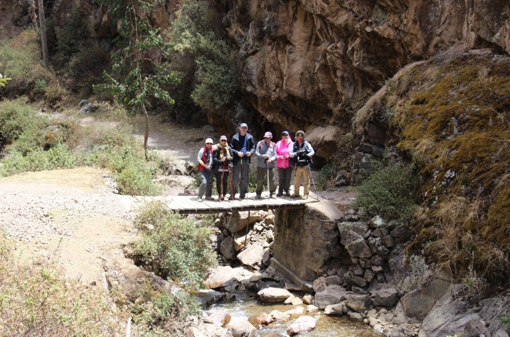group shot at the bottom of the canyon