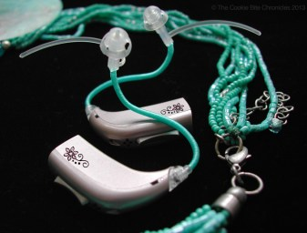 Turquoise hearing aid tubes
