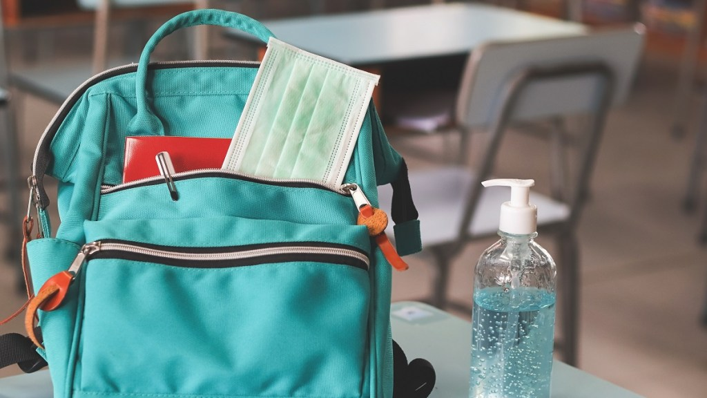 School bag on school desk with face mask and hand sanitiser next to it