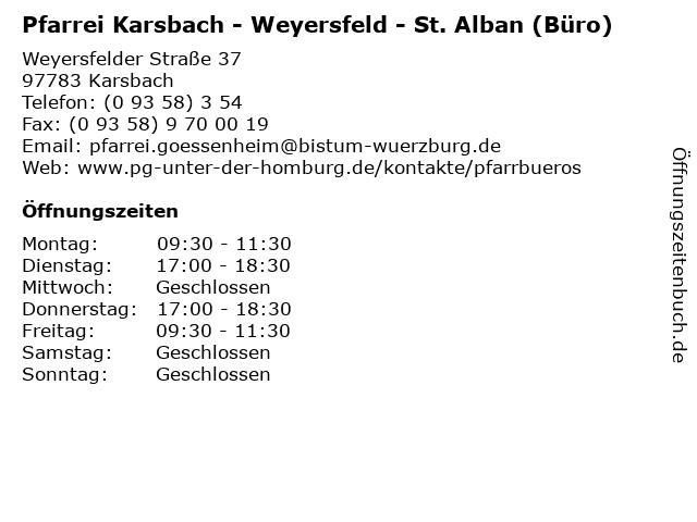 "ᐅ Öffnungszeiten ""Pfarrei Karsbach - Weyersfeld - St. Alban (Büro"
