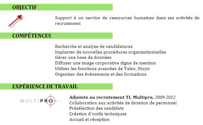 Lil Du Recruteur Objectif Professionnel Dans Le CV C
