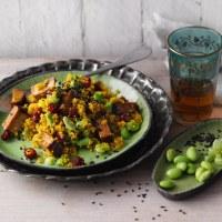 """Quinoa-Pilaw mit Tofu und Edamame - aus meinem Kochbuch """"Eiweiss, nur grün"""""""