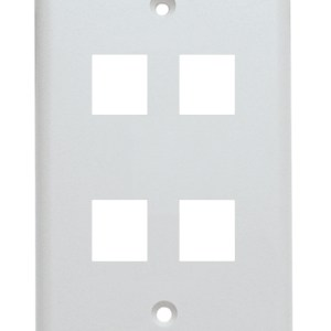 Keystone Wall Plate, Single Gang, 4 Port, White