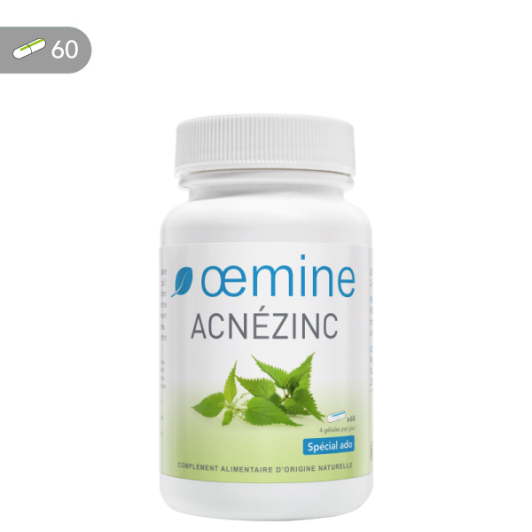 Oemine Acnezinc gélules pour le maintien d'une fonction séborrhéique normale de la peau.