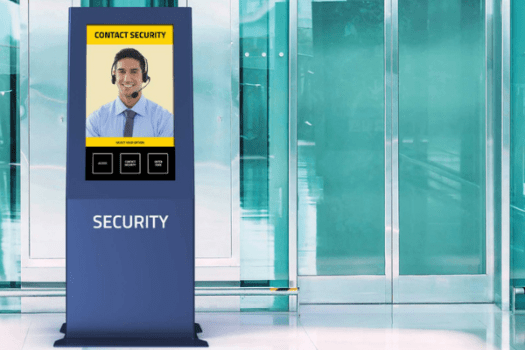 This solution includes a digital doorman, access control and support information