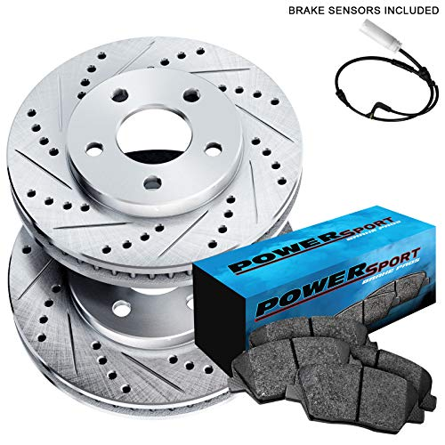 Fit 2004-2010 BMW X3 Front PowerSport Drill Slot Brake Rotors+Ceramic Brake Pads