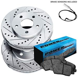 Fit 2004-2010 BMW X3 Front PowerSport Drill Slot Brake Rotors+Ceramic Brake Pads