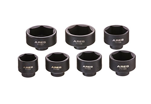 ARES 71150 | 7-Piece Low Profile Fuel Filter Socket Set | Low Profile Design for Easy Access | Popular Sizes for Multiple Applications | Chrome Vanadium Steel with Manganese Phosphate Coating