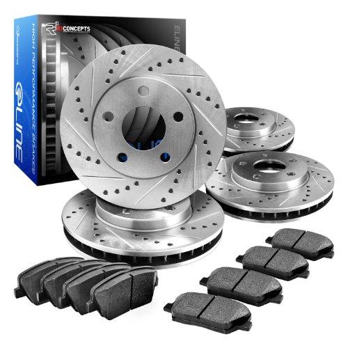 Eline Drilled Slotted Brake Rotors + Ceramic Pads Kit Bmw 323,325,328, (E46)