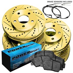 Fit BMW 335xi, 335i, 335d Front Rear Gold Drill Slot Brake Rotors+Ceramic Pads