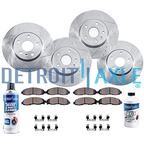 Detroit Axle - Complete FRONT & REAR DRILLED & SLOTTED Brake Rotors & Ceramic Brake Pads w/Hardware, Brake Fluid & Cleaner fits 2007 2008 2009 2010 2011 2012 Nissan Altima - 2013 COUPE