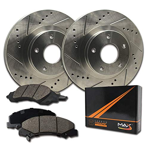 Max Brakes Premium Slotted|Drilled Rotors w/Ceramic Brake Pads Front Performance Brake Kit KT010131 [Fits:2001-2005 BMW 325i 325xi 325Ci]