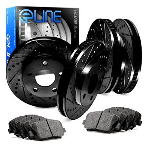 For Nissan Maxima Front Rear Black Drill Slot Brake Rotors+Ceramic Brake Pads