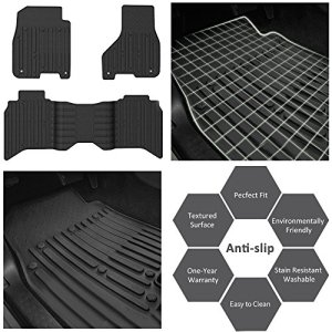 WINUNITE Front & Rear Black Slush Floor Mats for 2013-2017 Dodge Ram