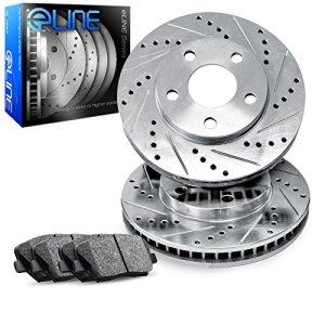 For 2010-2016 Cadillac SRX Front eLine Drill Slot Brake Rotors+Ceramic Brake Pad