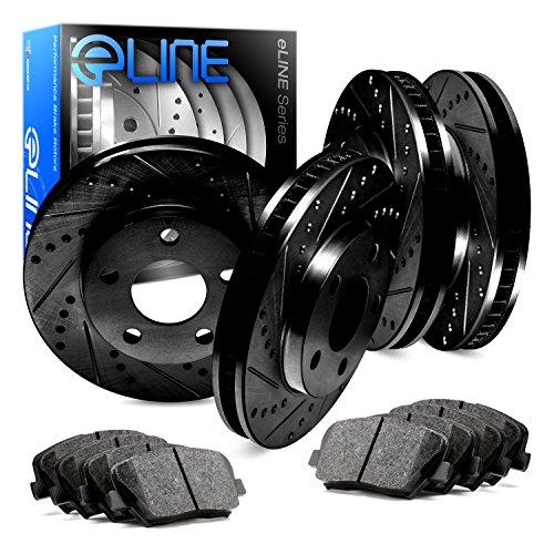 For Cadillac SRX Front Rear Black Drill Slot Brake Rotors+Ceramic Brake Pads
