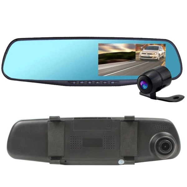 HD1080P Dual Len Car Rearview Mirro Camera DVR Multi-language G-sensor Motion GPS-IN Detection Anti-dazzling 130 wide angle
