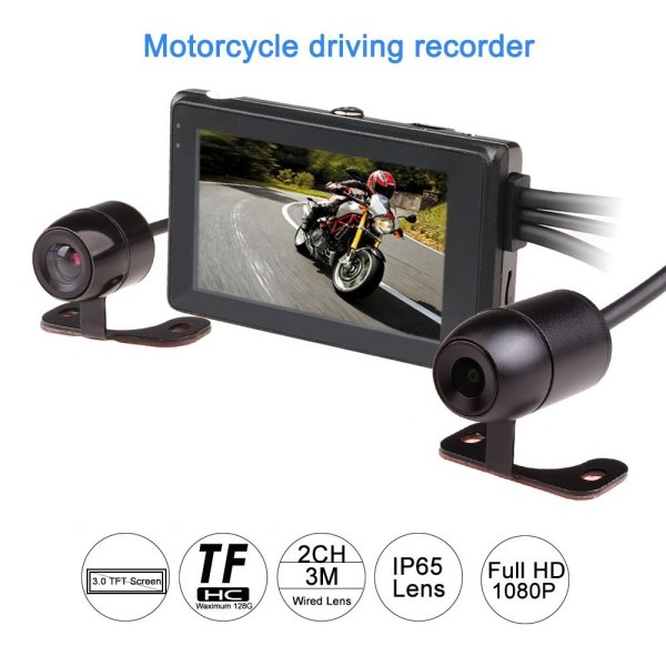 T2 1080P motorcycle DVR camera motorbike video recorder front rear
