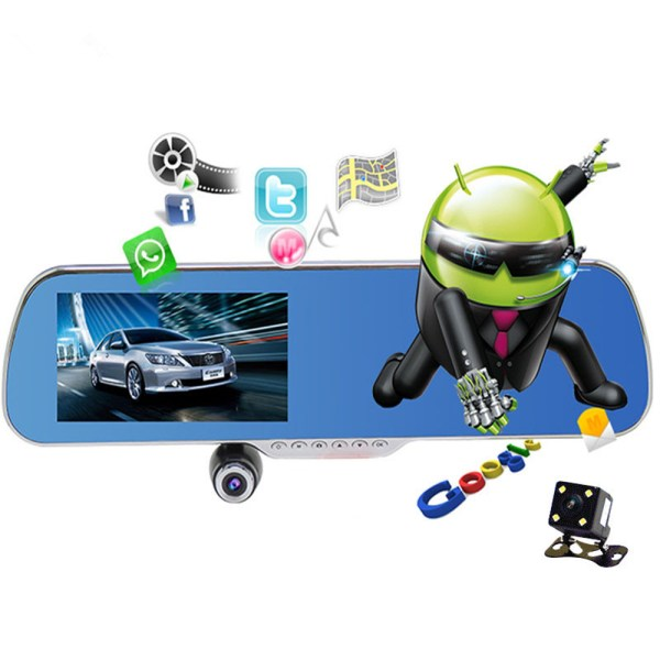 Rear view mirror car camera wifi gps navigator full hd