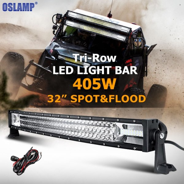 Oslamp 405W 32inch Curved LED Light Bar Tri-row