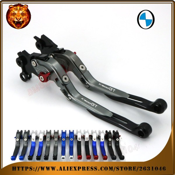 BMW K1600GT GTL K1600 1600 1600GT 2012-2015 LOGO Blue Black Motorcycle Adjustable Folding Extendable Brake