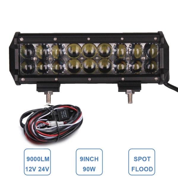 90W Offroad LED Light Bar 9'' 12V 24V Car Auto Pickup
