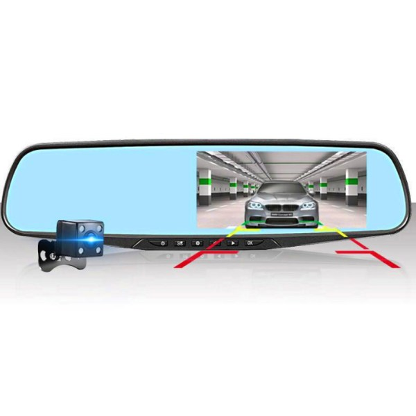 LiisLee 4.3 Inch Full HD 1080P Car Dvr Dash Camera Mirror For TOYOTA Corolla Auto Recorder Dual Lens support motion detection