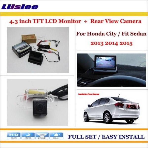 "Liislee For Honda City / Fit Sedan 2013 2014 2015 Car Rear Camera + 4.3"" LCD Screen Monitor = 2 in 1 Parking Assistance System"