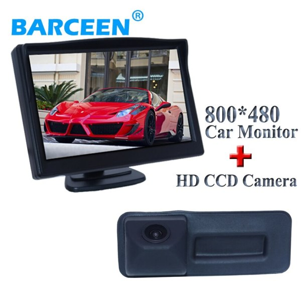 """2 in 1 set with 5"""" car display monitor +170 degree car rear camera for Skoda Roomster Fabia Octavia Yeti superb for Audi A1"""
