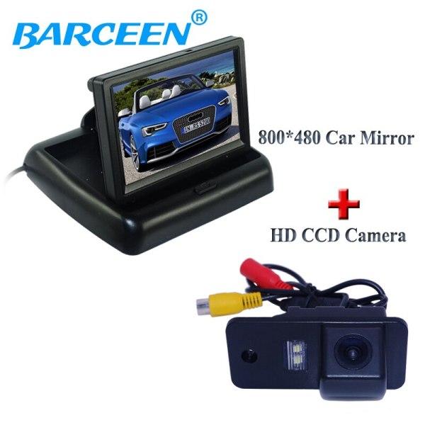 "Suitable for Audi A3 A4 A6 A8 Q5 Q7 A6L wire car display monitor 4.3"" foldable type +hd ccd image car reversing camera"